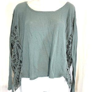 FREE PEOPLE Linen Knit Oversized Lace Top Shirt M